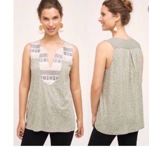 Anthropologie Tiny light gray embroidered top